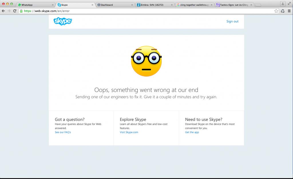 New Error Message for Skype but still crashing